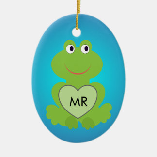 Little green frog. Customize initials on the heart Ceramic Oval Decoration
