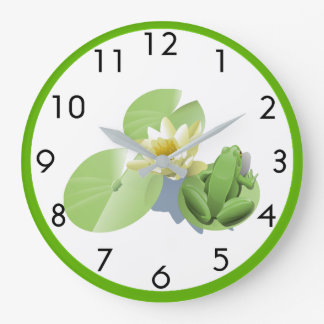 Little Green Frog Sitting on a Lily Pad Large Clock