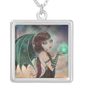 Little Green Gothic Vampire Fairy Fantsy Art Square Pendant Necklace