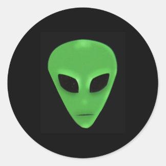 Little Green Man Alien Face Sticker