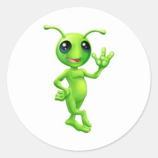 Little green man alien round sticker