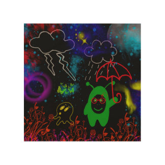 Little Green Man with Red Umbrella by Julie Wood Canvases
