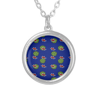 little green men and little green planets silver plated necklace