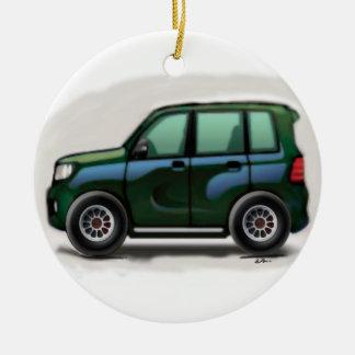 Little Green SUV Four Wheel Christmas Ornament