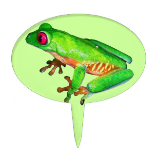 Little green tree frog cake topper