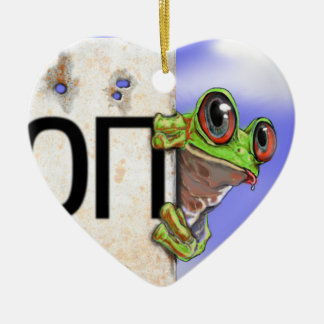 Little Green Tree Frog Ceramic Heart Decoration