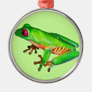 Little green tree frog Silver-Colored round decoration