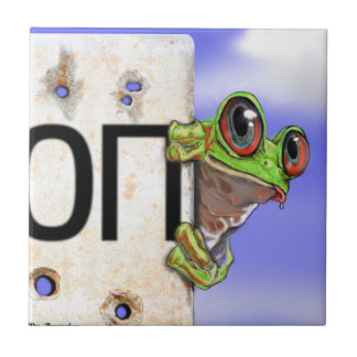 Little Green Tree Frog Small Square Tile