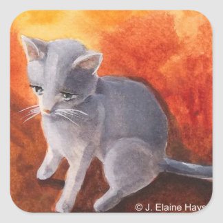 Little Grey Kitty Cat Square Sticker
