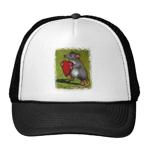 Little Grey Mouse Holding Red Heart: Oil Pastel Mesh Hats