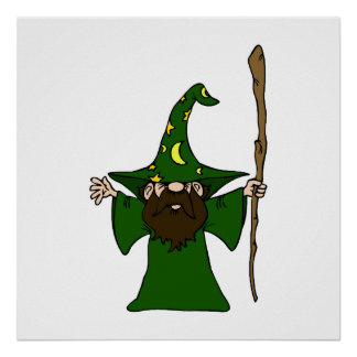 Little Guy Wizard With Big Staff Poster