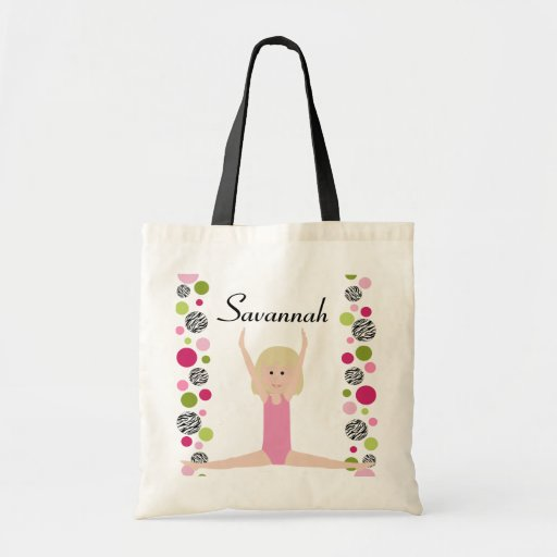 Little Gymnast in Pink and Green Canvas Bags