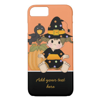 Little Halloween witch with orange black dress iPhone 7 Case