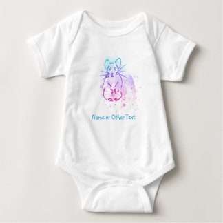 Little Hamster - Messy Watercolor - Add Own Text Baby Bodysuit