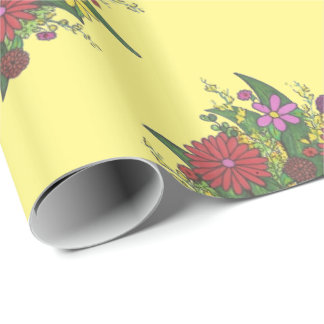 Little Hands Flower Bouquet Teacher Gift Wrap Wrapping Paper