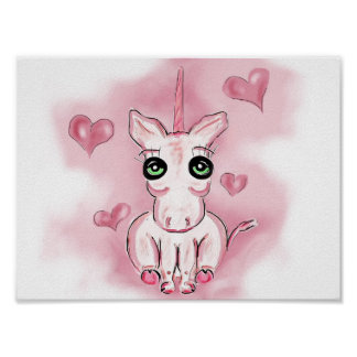 Little heart pink unicorn for kids poster