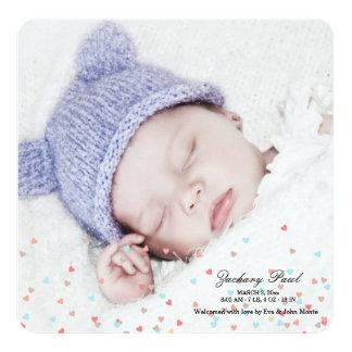 Little Hearts Boy Photo Birth Announcement