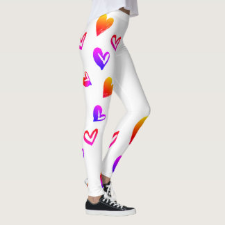 Little Hearts hand drawn bright red yellow Leggings