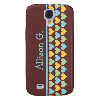 Little hearts pern blue green your custom name galaxy s4 cases