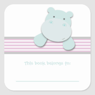 Little Hippo {Pink} | Bookplates Square Sticker