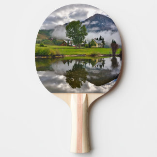 Little House in Mist on Lake Ping Pong Paddle