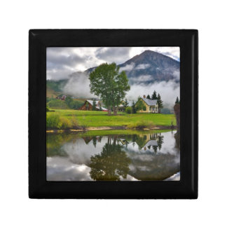 Little House in Mist on Lake Small Square Gift Box