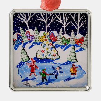Little Ice Skaters Fun Winter Folk Art Ornament