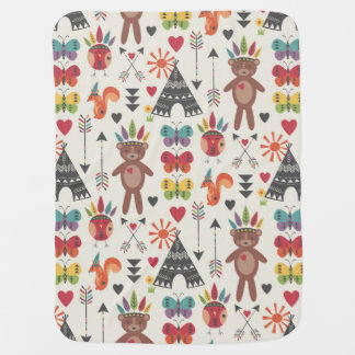 Little Indians Reversable Baby Blanket