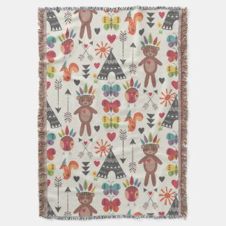 Little Indians Throw Blanket