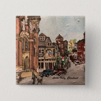 Little Italy, Cleveland Ohio Painting on a Button