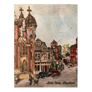 Little Italy, Cleveland Ohio Painting on Postcard