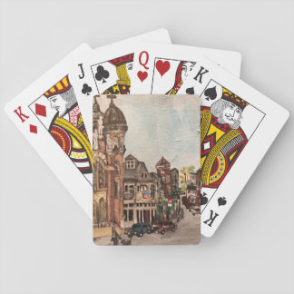Little Italy, Cleveland Painting on Playing Cards