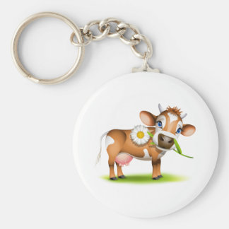 Little Jersey cow eating daisy Basic Round Button Key Ring