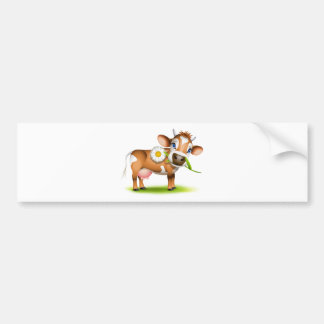 Little Jersey cow eating daisy Bumper Sticker