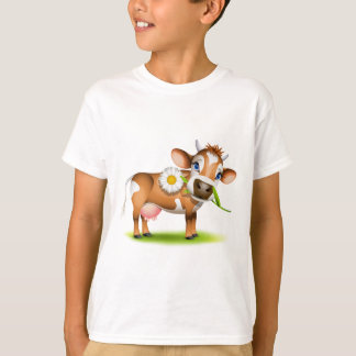 Little Jersey cow eating daisy T-Shirt