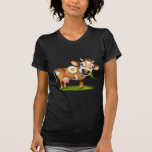 Little Jersey cow eating daisy T Shirts