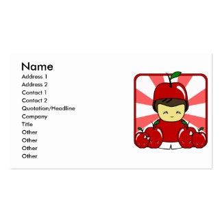 Little Kawaii Apple Boy With Apples Business Card Templates