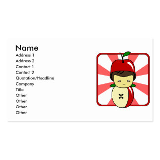 Little Kawaii Apple Boy With Seeds Business Cards