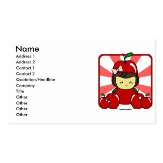 Little Kawaii Apple Girl With Apples Business Card Templates
