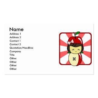 Little Kawaii Apple Girl With Seeds Business Card Template