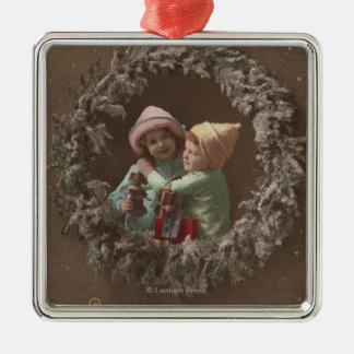 Little Kids Embracing Silver-Colored Square Decoration