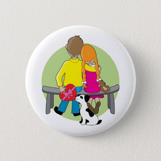 Little Kids Valentine 6 Cm Round Badge