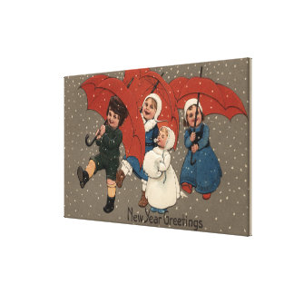 Little Kids with Umbrellas Gallery Wrap Canvas