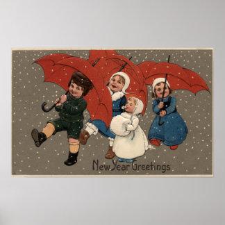 Little Kids with Umbrellas Print