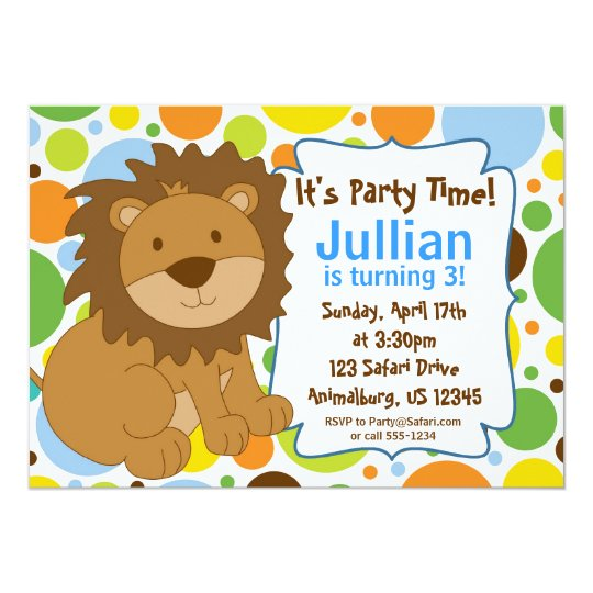 Little King Lion Birthday Party Invitation