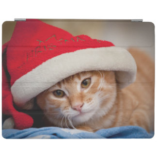 Little Kitten in Red Christmas Hat iPad Cover