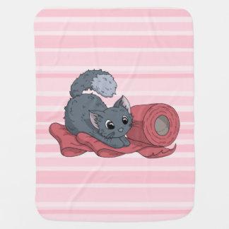 Little Kitten on Ribbon Baby Blanket