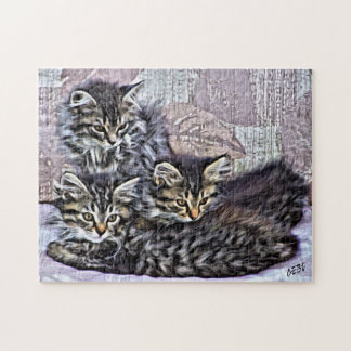 Little kittens relaxing on a chair jigsaw puzzle