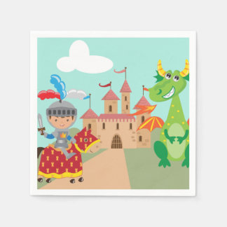 Little Knight Castle and Dragon Paper Napkins