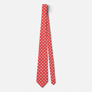 Little Knitted Hearts Pattern on Red Love Tie